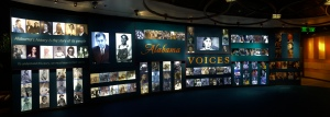A panorama of the introduction to the Alabama Voices exhibit at the Museum of Alabama, which is inside the archives building.